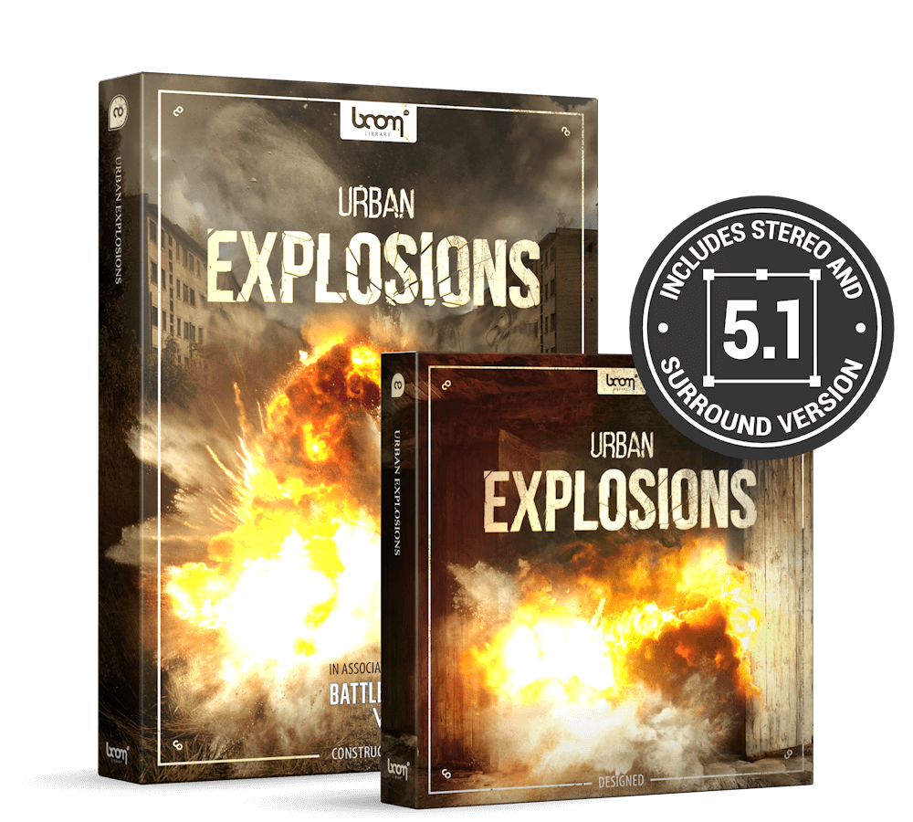 Urban Explosions Product Packshot by BOOM Library in Association with EA for Battlefield
