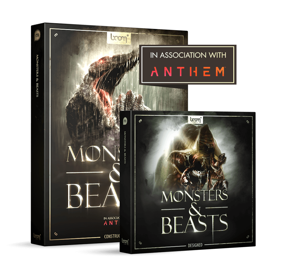 Monsters & Beasts Boom library sound effects - Monster Sounds - creatures zombies evil Product Pack Shot bundle in association with anthem