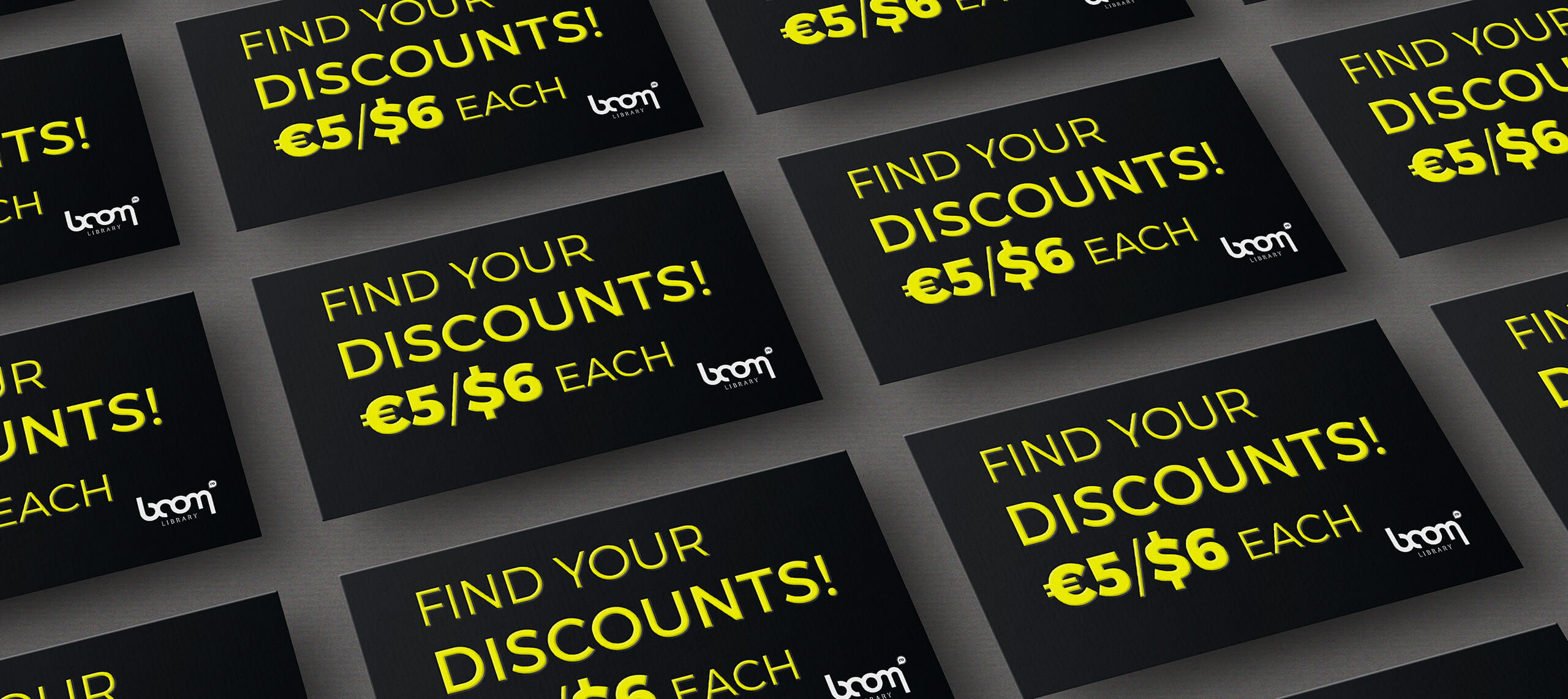 BOOM Find Your Discounts Cards Slider bright